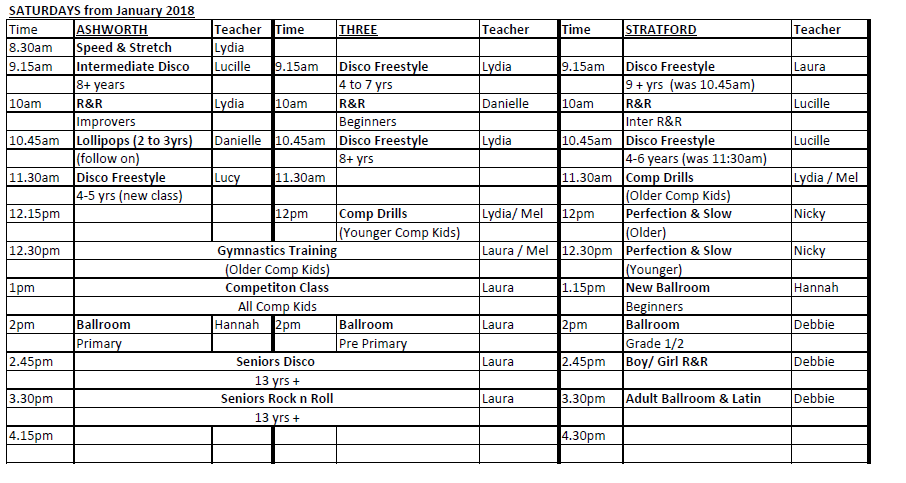 New Sat Timetable